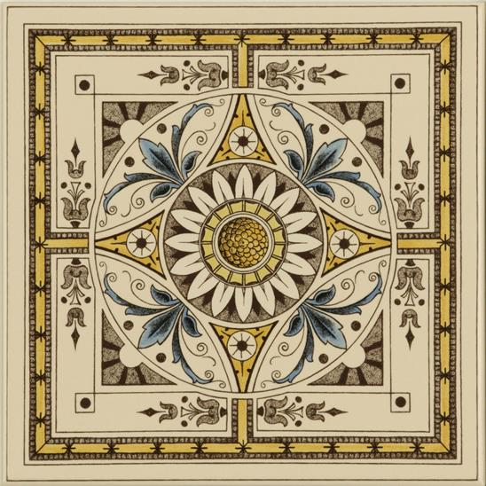 Symmetrical Classical Pattern Single Tile on Colonial White