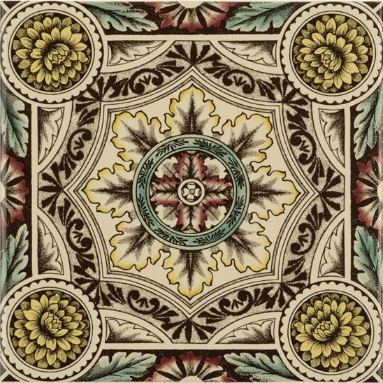 Symmetrical Floral Pattern Single Tile on Colonial White