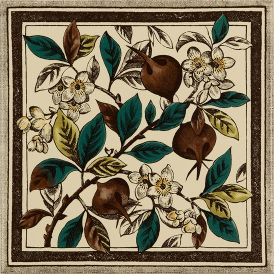 Apple Blossom Single Tile on Colonial White